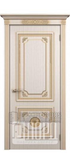Дверь Апполон ДГ Белое дерево+патина золото