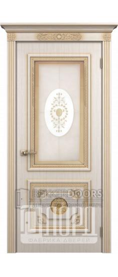 Дверь Апполон ДО Белое дерево+патина золото