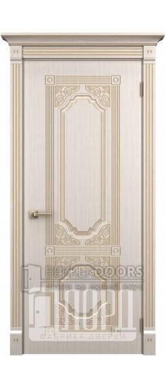 Дверь Артемида ДГ Белое дерево+патина золото