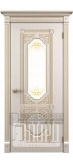 Дверь Артемида ДО Белое дерево+патина золото