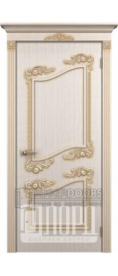 Дверь Афродита ДГ Белое дерево+патина золото