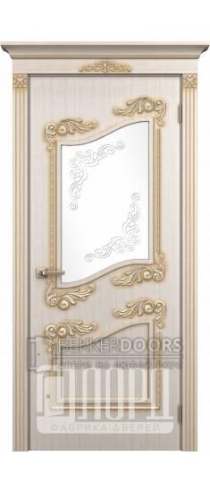 Дверь Афродита ДО Белое дерево+патина золото