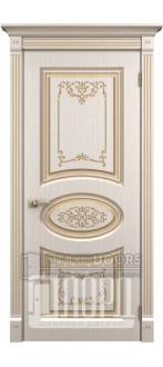 Дверь Барокко ДГ Белое дерево+патина золото