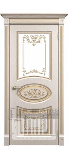 Дверь Барокко ДО Белое дерево+патина золото