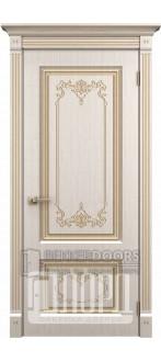 Дверь Верокко ДГ Белое дерево+патина золото