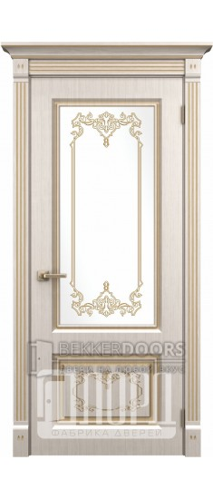 Дверь Верокко ДО Белое дерево+патина золото