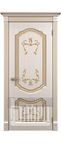 Дверь Версаль ДГ Белое дерево+патина золото