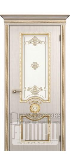 Дверь Гефест ДО Белое дерево+патина золото