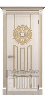Дверь Зевс ДГ Белое дерево+патина золото