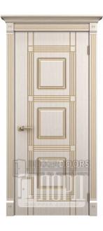 Дверь Ирида ДГ Белое дерево+патина золото