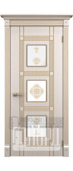 Дверь Ирида ДО Белое дерево+патина золото