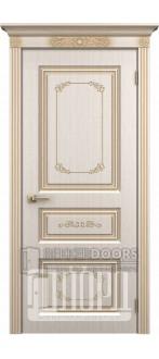 Дверь Марсель ДГ Белое дерево+патина золото