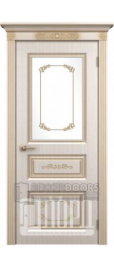 Дверь Марсель ДО Белое дерево+патина золото