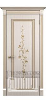 Дверь Милетто ДГ Белое дерево+патина золото
