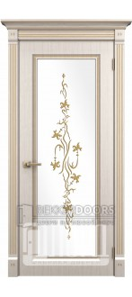 Дверь Милетто ДО Белое дерево+патина золото