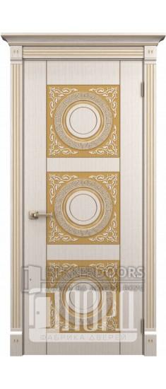 Дверь Рим ДГ Белое дерево+патина золото