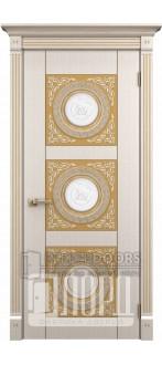 Дверь Рим ДО Белое дерево+патина золото