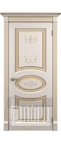 Дверь Римини  ДГ Белое дерево+патина золото