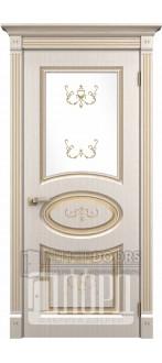 Дверь Римини  ДО Белое дерево+патина золото