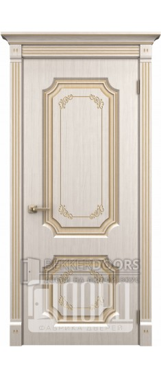 Дверь Сан-Марино  ДГ Белое дерево+патина золото