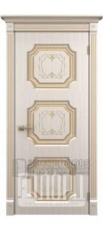 Дверь Севилья ДГ Белое дерево+патина золото