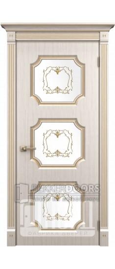 Дверь Севилья ДО Белое дерево+патина золото