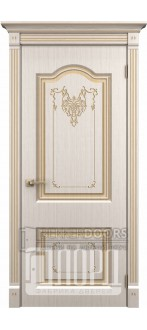 Дверь Таскания ДГ Белое дерево+патина золото