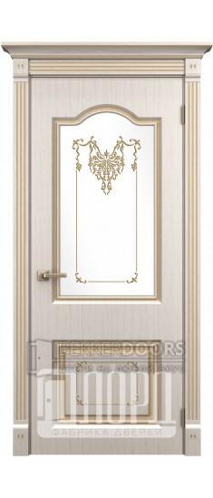 Дверь Таскания ДО Белое дерево+патина золото