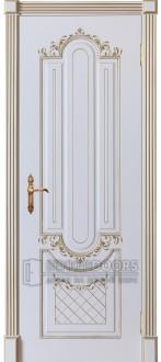 Дверь София ПГ Эмаль белая + патина золото