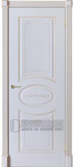 Дверь Севилия ПГ Эмаль белая + патина 17