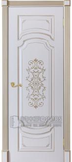 Дверь Сицилия ПГ Эмаль белая + патина золото