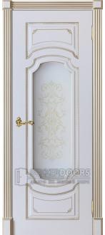 Дверь Сицилия ПО Эмаль белая + патина золото