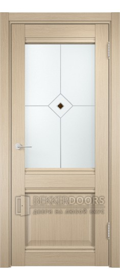 Дверь ПО Милан 12 Беленый дуб Стекло Сатинато Люкс