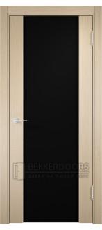 Дверь ПО Сан-Ремо 01 Беленый дуб Стекло Черный Триплекс