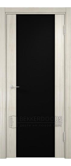 Дверь ПО Сан-Ремо 01 Беленый дуб мелинга Стекло Черный Триплекс