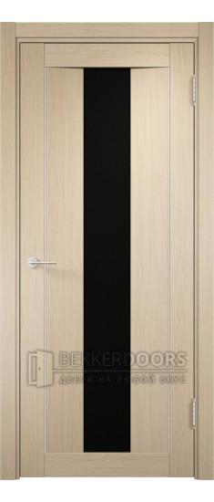 Дверь ПО Сицилия 02 Беленый дуб Стекло Черный Триплекс
