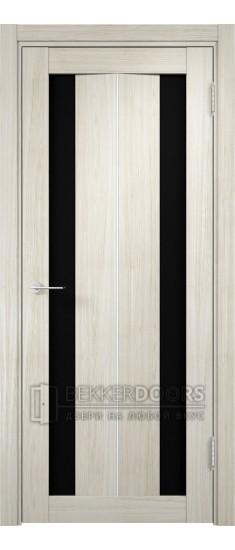 Дверь ПО Сицилия 04 Беленый дуб мелинга Стекло Черный Триплекс