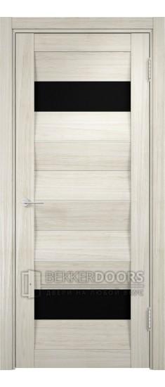 Дверь ПО Сицилия 10 Беленый дуб мелинга Стекло Черный Триплекс