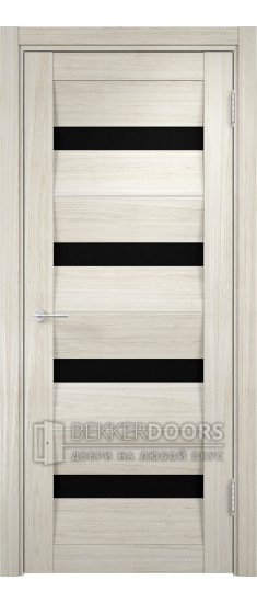 Дверь ПО Сицилия 12 Беленый дуб мелинга Стекло Черный Триплекс