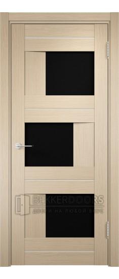 Дверь ПО Сицилия 14 Беленый дуб Стекло Черный Триплекс