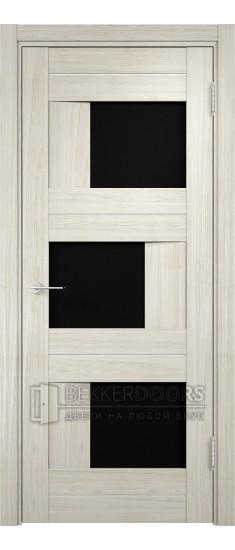 Дверь ПО Сицилия 14 Беленый дуб мелинга Стекло Черный Триплекс