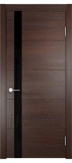 Дверь ПО Турин 03 Дуб графит вералинга Стекло Лакобель Черное