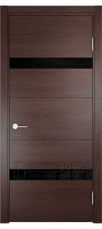 Дверь ПО Турин 05 Дуб графит вералинга Стекло Лакобель Черное