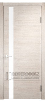 Дверь ПО Турин 03 Дуб бежевый вералинга Стекло Лакобель Белое