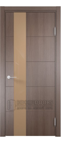 Дверь ПО Турин 13 Дуб фремонт вералинга Стекло Лакобель мокко