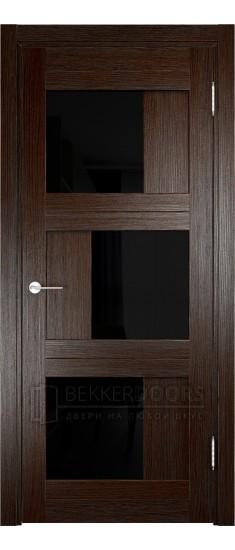Дверь ПО Баден 10 Дуб темный Стекло Лакобель Черное