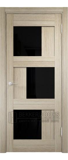 Дверь ПО Баден 10 Дуб дымчатый Стекло Лакобель Черное