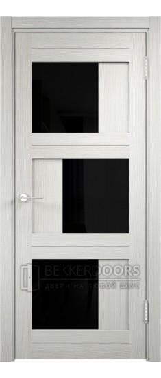 Дверь ПО Баден 10 Слоновая кость Стекло Лакобель Черное