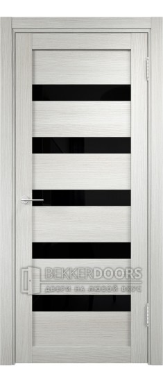 Дверь ПО Мюнхен 03 Слоновая кость Стекло Лакобель Черное