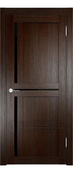 Дверь ПО Берлин 01 Дуб темный Стекло Лакобель Черное